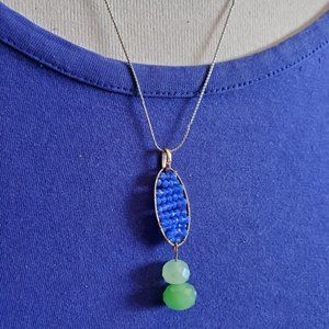 "18"" Silver Tone Glass Bead Drop Pendant Necklace"